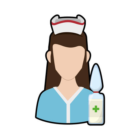 Nurse with uniform and dropper icon. Medical and health care theme. Isolated design. Vector illustration Illustration