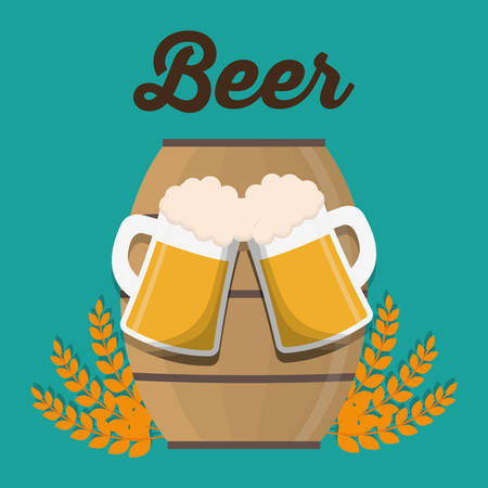 Beer glass wheat ear and barrel icon. Drink beverage and alcohol theme. Colorful design. Vector illustration