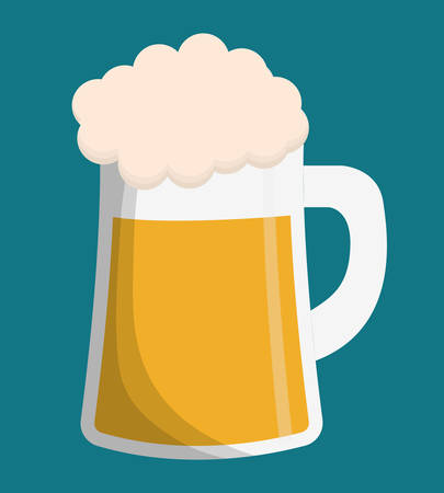 brewed: Beer glass icon. Drink beverage and alcohol theme. Colorful design. Vector illustration