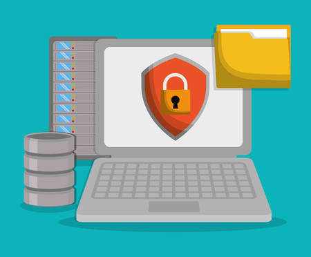 Laptop file and padlock icon. Data center and web hosting theme. Colorful design. Vector illustration