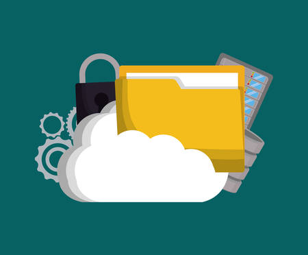 Gears padlock cloud and file icon. Data center and web hosting theme. Colorful design. Vector illustration