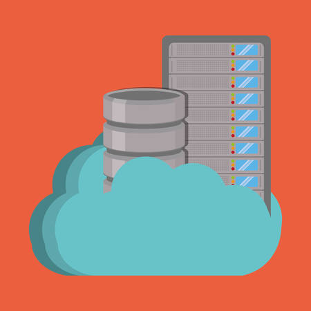 data base: data base with cloud icon. Data center and web hosting theme. Colorful design. Vector illustration Illustration