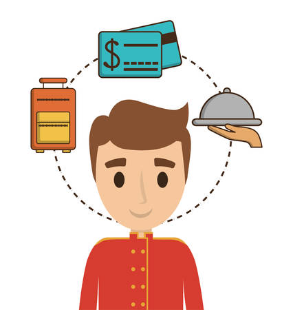 Bellboy and icon set. Hotel service theme. Colorful design. Vector illustration Illustration