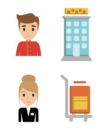 bellboy: Bellboy receptionist and bag icon. Hotel service theme. Colorful design. Vector illustration