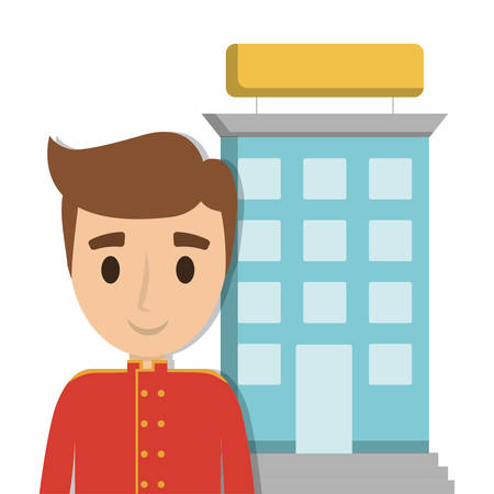bellboy: Bellboy and building icon. Hotel service theme. Colorful design. Vector illustration