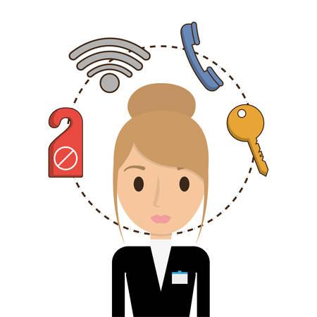 Receptionist icon. Hotel service theme. Colorful design. Vector illustration Illustration