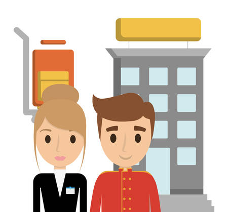 receptionist: Building bellboy and receptionist icon. Hotel service theme. Colorful design. Vector illustration