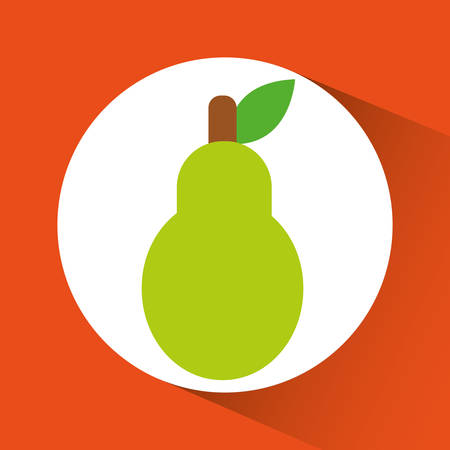 pear inside circle icon. Organic and healthy food theme. Colorful design. Vector illustration Illustration