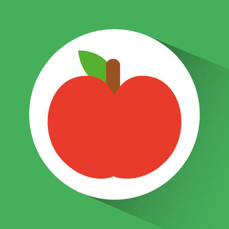 produce product: Apple inside circle icon. Organic and healthy food theme. Colorful design. Vector illustration Illustration