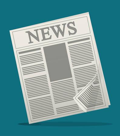 folded newspaper: newspaper icon. News communication and media theme. Colorful design. Vector illustration Illustration