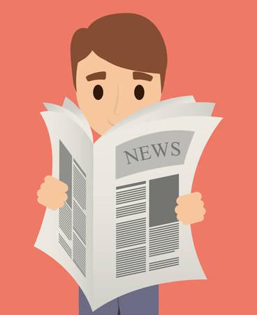 broadsheet: Man cartoon reading newspaper icon. News communication and media theme. Colorful design. Vector illustration