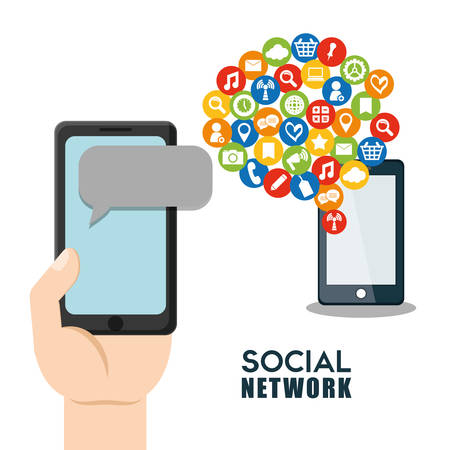 editorial: Social network cellphone message globlal networkings user Illustration