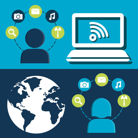 Social network computer person world information global