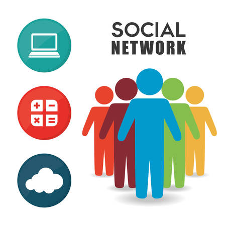 person icon: Social network person color information cloud icon Illustration