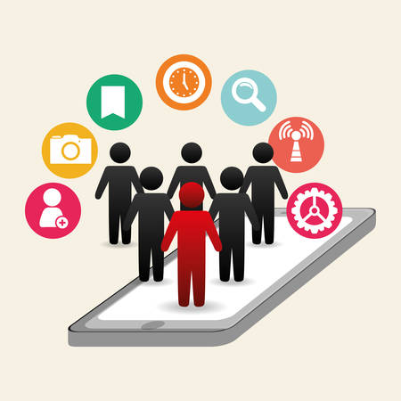 editorial: Social network cellphone above icon people networking