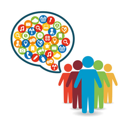 editorial: Social network people message world customer icon