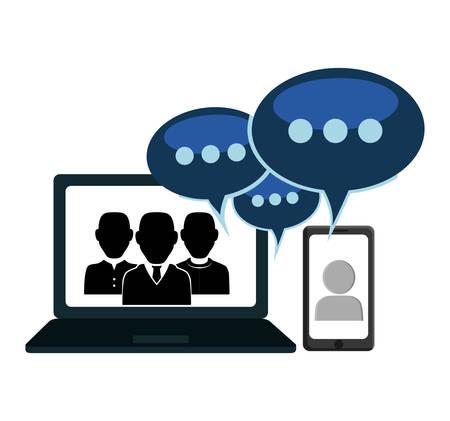 Sociaal netwerk computer cellphone mensen bericht wereldwijde chat