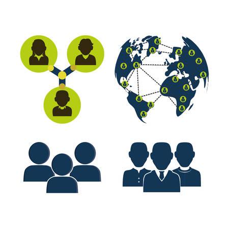 el grupo de personas de la red social en el mundo de redes empresariales