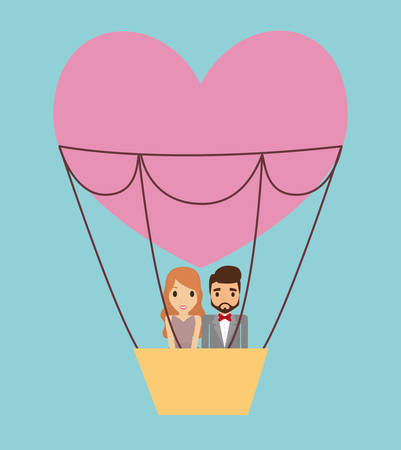 hot couple: Couple cartoon and hot air balloon icon. Save the date wedding and marriage theme. Colorful background. Vector illustration