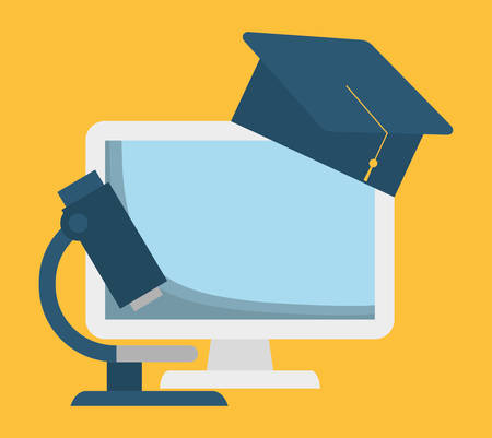 interacting: Computer microscope and graduation cap icon. School supply object and education theme. Colorful design. Vector illustration