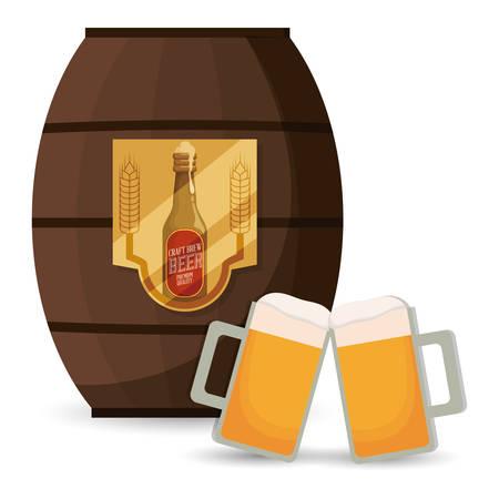 brew: premium quality craft brew beer vector illustration design