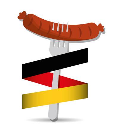 german sausage: delicious german sausage icon vector illustration design