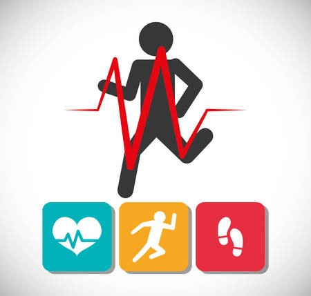 tracking: fitness app technology icons vector illustration design