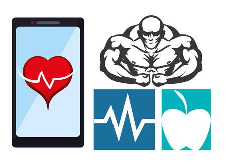 fitness app technology icons vector illustration design
