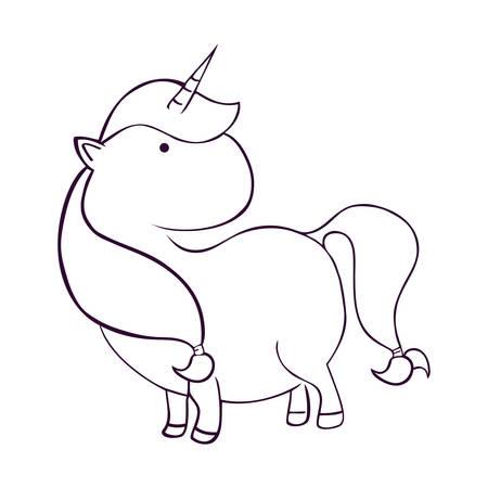 cute unicorn drawn icon vector illustration design