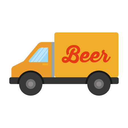 truck vehicle delivery beer isolated icon vector illustration design