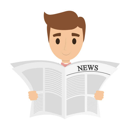 person reading the newspaper vector illustration design