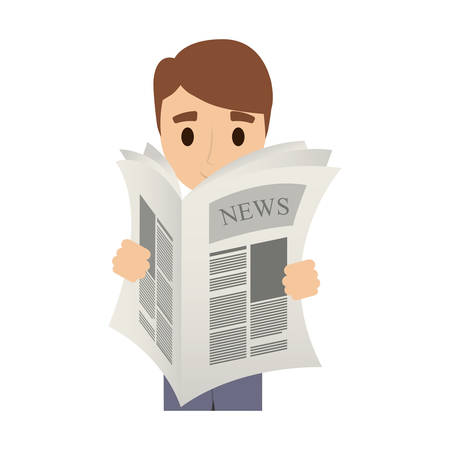 tabloid: person reading the newspaper vector illustration design