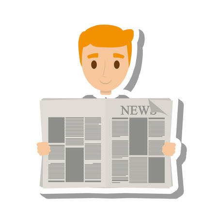 news reader: person reading the newspaper vector illustration design