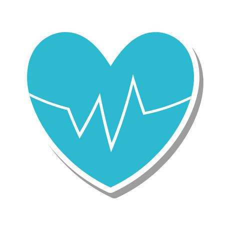 pulsating: heart with cardio pulse vector illustration design Illustration
