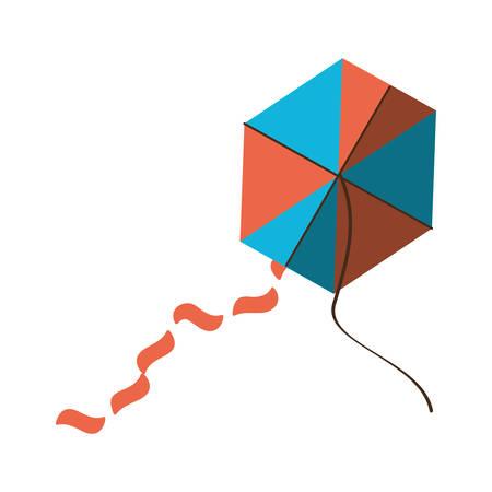 beautiful kite flying isolated icon vector illustration design