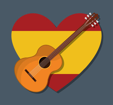 madrid: Flag and guitar icon. Spain europe travel and landmark theme. Colorful design. Vector illustration