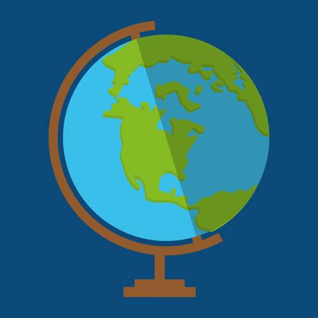 Icono del planeta. Globo del mundo de la tierra y tema del continente. Ilustración del vector