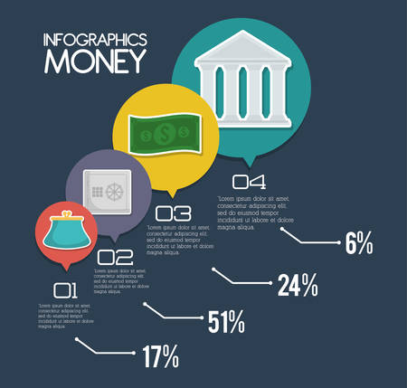 bank bill: Bank bill and purse. Infographic Money financial item commerce market and payment theme. Silhouette design. Vector illustration