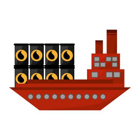 sea tanker ship: ship boat with barrels oil icon vector illustration design