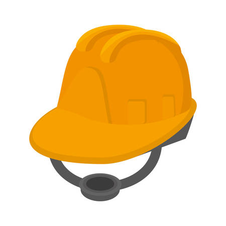Yellow helmet protecction construction, industry vector illustration