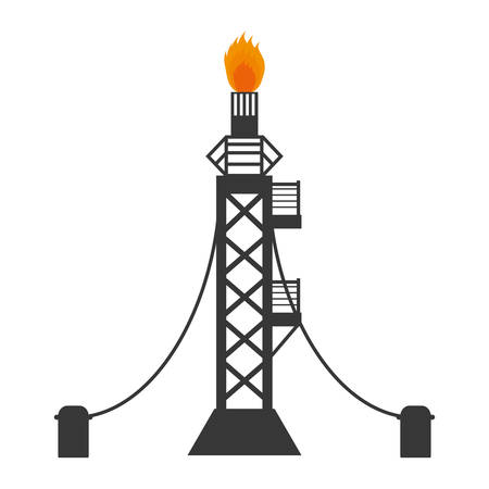 natural gas production: tower oil exploration industry vector illustration design