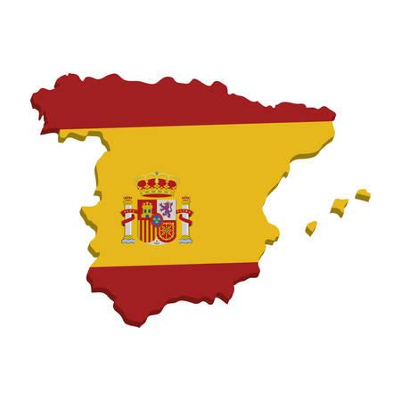 Spanien Karte Geographie isoliert Symbol Vektor-Illustration, Design,