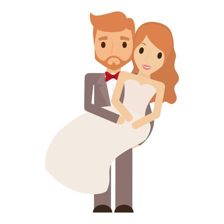 pareja de recién casados ??carácter ilustración vectorial de diseño Ilustración de vector