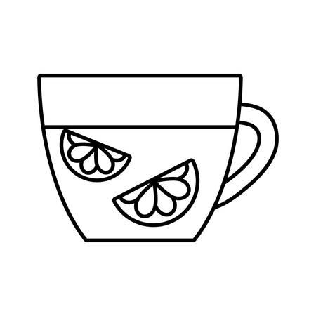 citrus fruit: tea citrus fruit beverage icon vector illustration design Illustration
