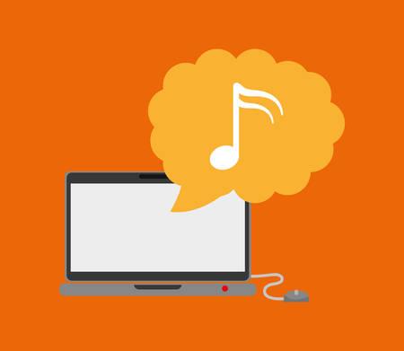 computer club: Music computer technology icon vector illustration graphic design Illustration
