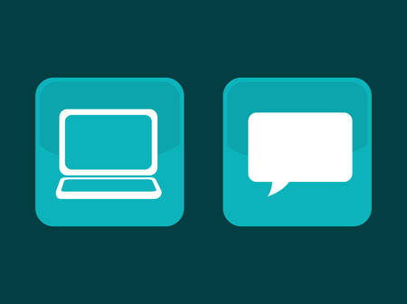 chat room: Laptop computer chat icon vector illustration graphic design