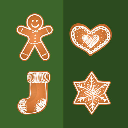 Merry christmas cookies card icon vector illustration graphic design