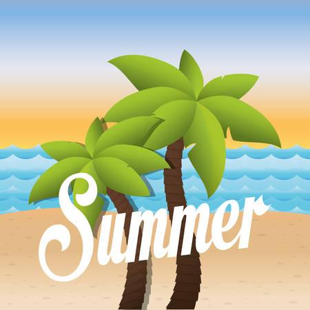 palms tree beach icon vector illustration graphic design