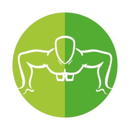 man silhouette exercising push ups front vector illustration Illustration