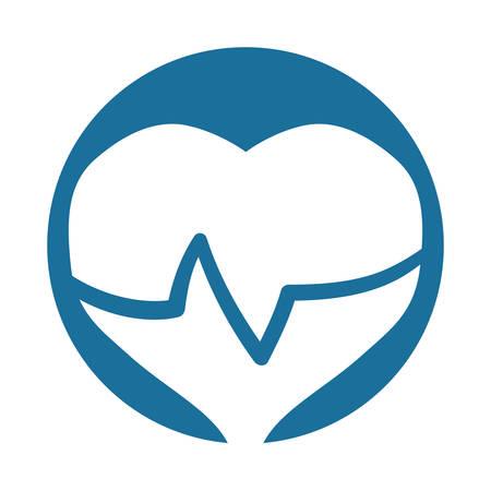 silhouette heart beat rhythm vector illustration